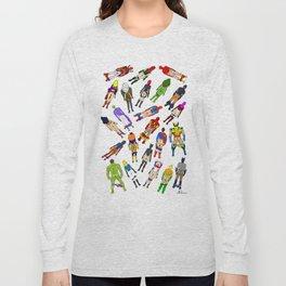 Superhero Butts with Villians - Light Pattern Long Sleeve T-shirt