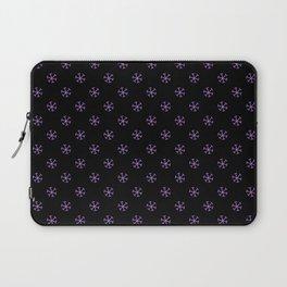 Lavender Violet on Black Snowflakes Laptop Sleeve