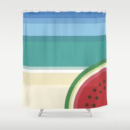 The watermelon on the beach Shower Curtain