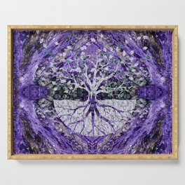 Silver Tree of Life Yggdrasil on Amethyst Geode Serving Tray