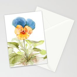Watercolor illustration of pansy flower Stationery Cards