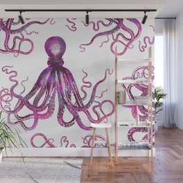 pink Octopus unique underwater creature Wall Mural