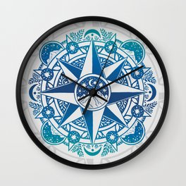 Journey to Moon Mountain | Turquoise Navy Ombré Wall Clock