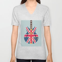 Union Jack Flag Britpop Guitar - Slate Unisex V-Neck