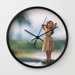 Hawaii road trip hula doll on car dashboard Wall Clock