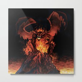 Fiery Monster on Volcano Metal Print