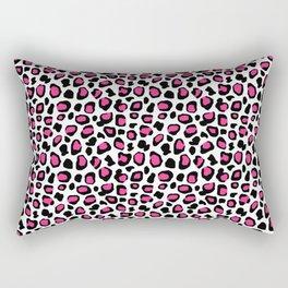 Leopard Animal Print Hot Pink Black Spots Rectangular Pillow