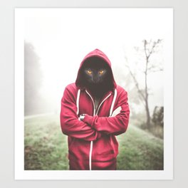 Creepy Black Cat Dressed Hoodie Art Print