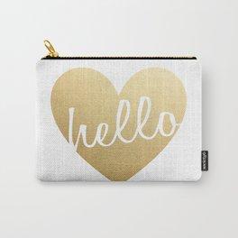 Hello Heart Wall Art #3 Gold Heart Carry-All Pouch