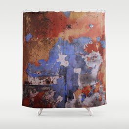 Abstract wall patchwork painting Shower Curtain