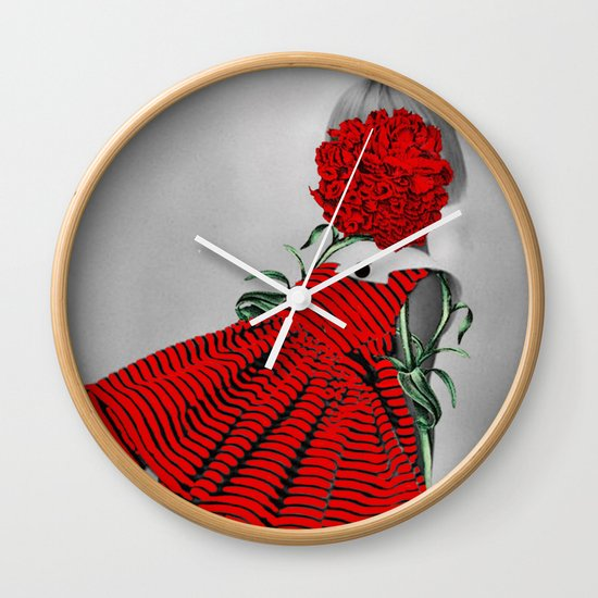 RED CARNATION Wall Clock