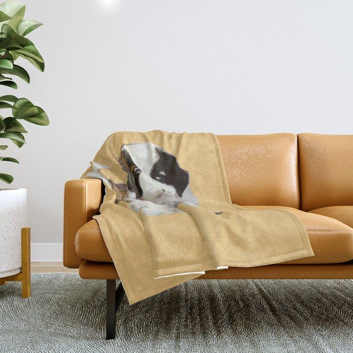 Saint Bernard Puppy Throw Blanket