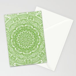 Olive Lime Green Mandala Detailed Ethnic Tribal Pattern Stationery Cards