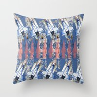 rocket Throw Pillows featuring Rocket by AnnaW