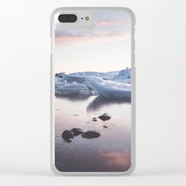 Sunset over Glacier Lagoon - Landscape and Nature Photography Clear iPhone Case