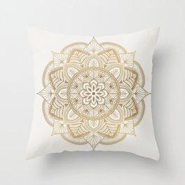 Mandala Beige Creamy Pattern 1 Throw Pillow