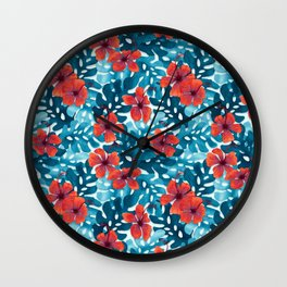 Tropical Hibiscus Pattern Red Wall Clock