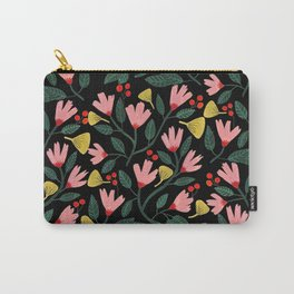 Pink Floral Pattern on Black Carry-All Pouch