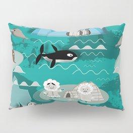 Arctic animals teal Pillow Sham