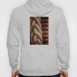 Thick braided rope from a boat, tied to a cogwheel Hoody