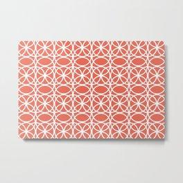 Pantone Living Coral and White Rings, Circle Heaven 2, Overlapping Ring Design - Digital Artwork Metal Print