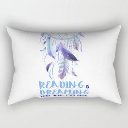 Reading is dreaming blue Rectangular Pillow
