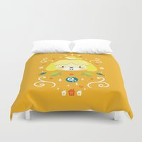 animal crossing Duvet Covers featuring Animal Crossing: Isabelle by Anth Rodi