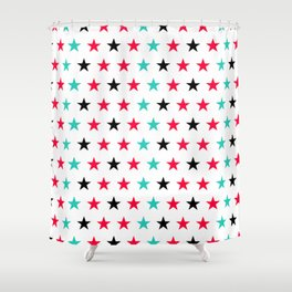 Stars pattern in black, red and turquoise Shower Curtain