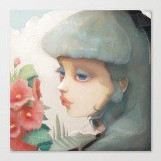 Pensees et roses tremieres Canvas Print