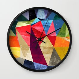 colorful pattern abstract shapes Wall Clock