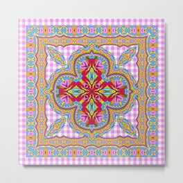 Mix&Match;  Pretty Pink Mandala Meditation pillow 01 Metal Print