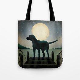 Black Dog Labrador Lake Dock Moon Cottage Cabin Tote Bag