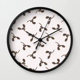 Winter Rustic Mistletoe Lino Cut Wall Clock