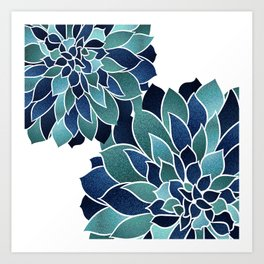 Floral Prints, Navy Blue and Teal on White Art Print