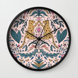 Modern folk style jungle cats leopard artwork  Wall Clock