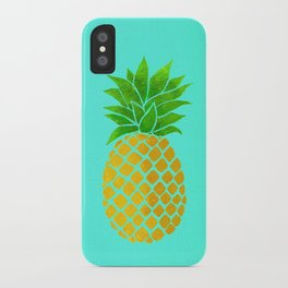 Pineapple on Teal iPhone Case