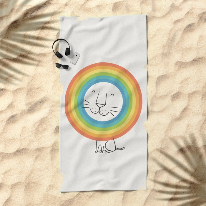 A Happy Lion Beach Towel