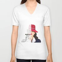 peggy carter V-neck T-shirts featuring Agent Peggy Carter by Sindhu Tngm