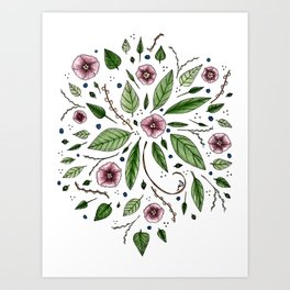 Hanging Among the Flowers & Leaves Art Print