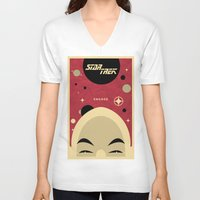picard V-neck T-shirts featuring Star Trek TNG Jean Luc Picard Enterprise by jake
