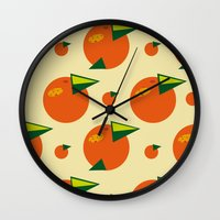 orange pattern Wall Clocks featuring orange pattern by Avrora-slip