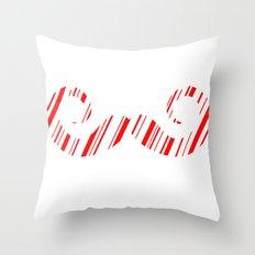 Peppermint Stache Throw Pillow