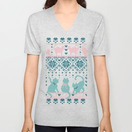 Fair Isle Knitting Cats Love // teal white and pink kitties Unisex V-Neck