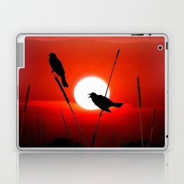 Blackbirds On Red Sunset. Laptop & iPad Skin