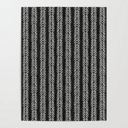Mud cloth - Black and White Arrowheads Poster