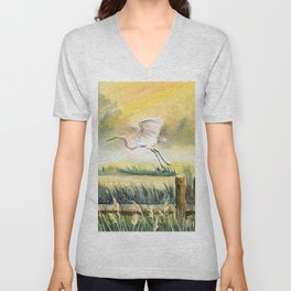 Egret Flying Over Marsh  Unisex V-Neck