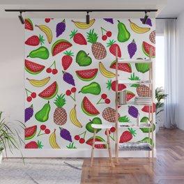Tutti Fruity Hand Drawn Summer Mixed Fruit Wall Mural