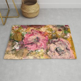 Romantic expressionistic flowers Rug