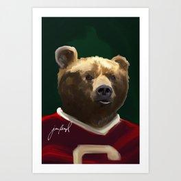 Big Red Bear Portrait Art Print
