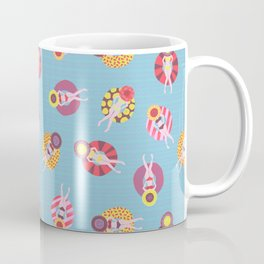 Floating in the Pool Pattern. Women on colorful floaties. Coffee Mug